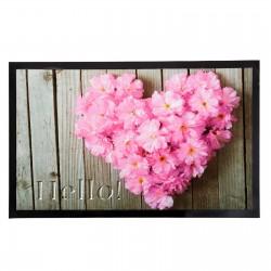 Felpudo diseño romántico multicolor corazon rosa 75 x 45 cm