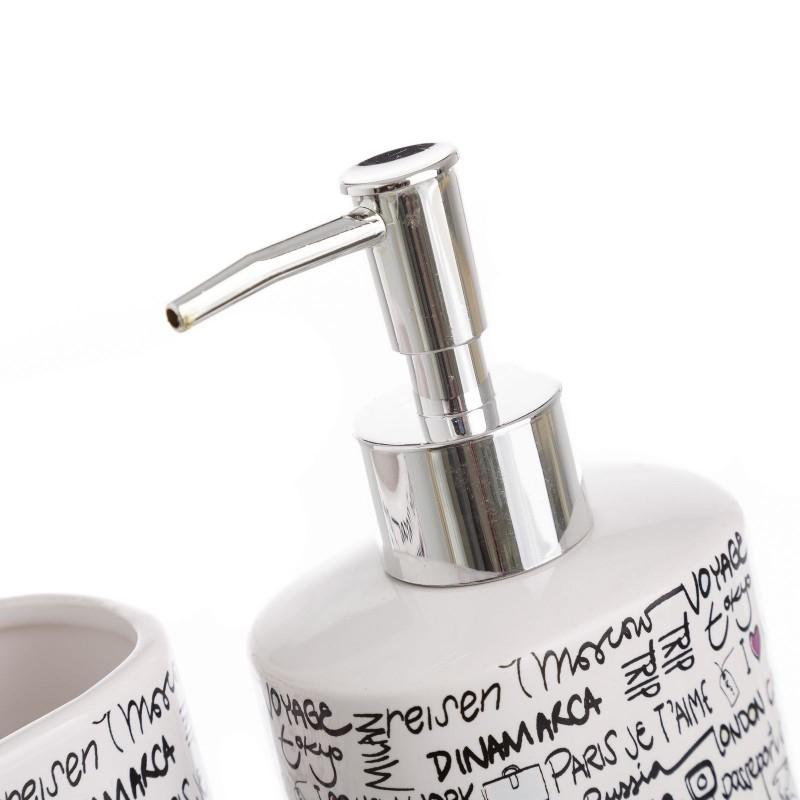 Juego de 4 accesorios para cuarto de baño de cerámica Blanco ...