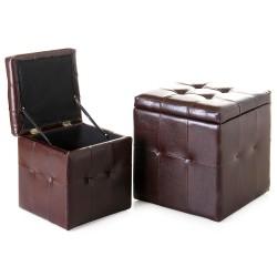 Puffs baúl industriales marrones de madera para dormitorio Factory