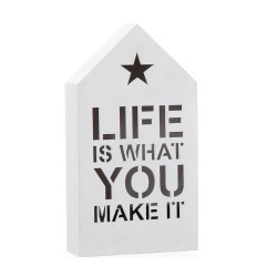 Figura casa con luz de 6 leds blanco 12x5x22 cm -Life