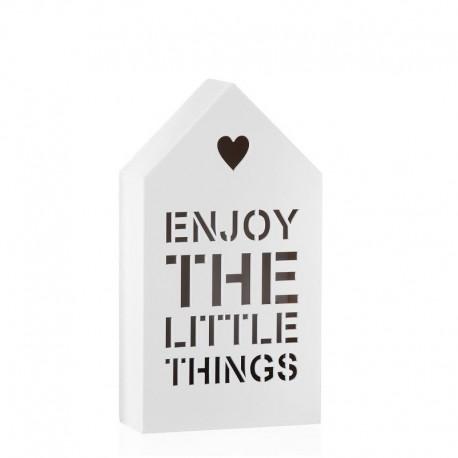 Figura casa con luz de 6 leds blanco 12x5x22 cm -Enjoy
