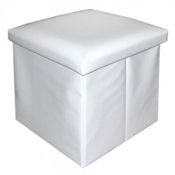 Puff plegable sencillo polipiel blanco 38x38x38 cm