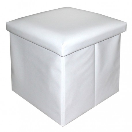 Puf arcón sencillo polipiel blanco 40 x 40 x 40 cm