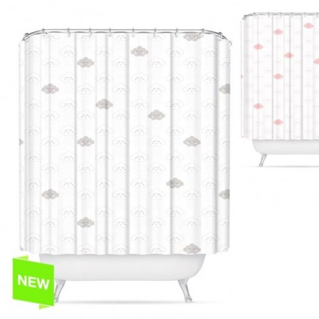 "Cortina de baño original diseño ""NUBES"" poliester 180 x 200cm"