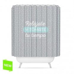 "Cortina de baño original diseño frase ""RELAJATE"" poliester 180 x 200cm"