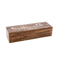 Caja rectangular de madera natural flor 23x8x5 cm
