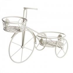 Macetero bicicleta crema metal jardín 56x25x40 cm