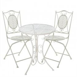 Conjunto de mesa y sillas para terraza gris de forja Garden