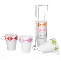 Juego 6 tazas moderna porcelana 8 x 5 x 9,80 cm