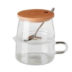 Azucarero lechera moderno transparente de bambú para cocina Basic