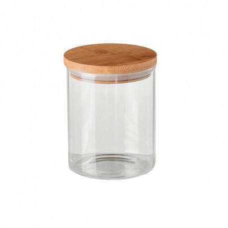 Tarro borosilicato cristal con tapa de bambú.