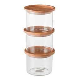 S/3 Tarro borosilicato cristal con tapa de bambú