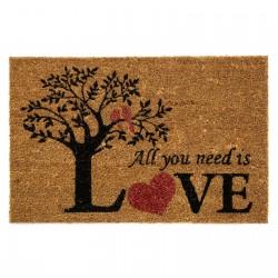"Felpudo romántico ""LOVE TREE"" fibra de coco de impresión acrílica. 40x60 cm"