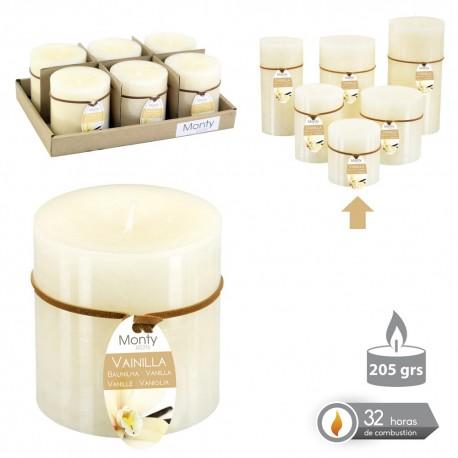 Caja 6 Vela cilíndrica perfumada verde 7 x 7 cm 208 grs- 32 horas combustión -2% perfume té verde