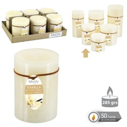 Caja 6 Vela cilíndrica perfumada crema 7 x 9,50 cm 285 grs- 50 horas combustión -2% perfume vainillla