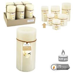 Caja 6 Vela cilíndrica perfumada crema 7 x 14 cm 420 grs- 75 horas combustión -2% perfume vainillla