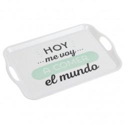 """Bandeja melamina original mensaje """"""""COMER EL MIUNDO"""""""" 45 x 31 x 2,8 cm"""