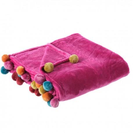 Manta de sofá infantil fucsia de poliéster para salón Iris 130x160cm