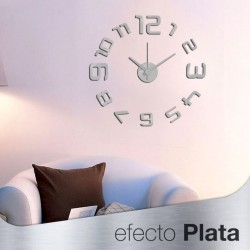 Reloj de Pared 3D con Números Adhesivos DIY Bricolaje Moderno Decoración Adorno para Hogar Habitación