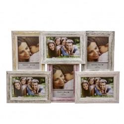 Portafotos múltiple madera colores para 6 fotos