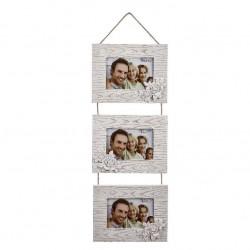 Marco de fotos multiple colgante original de madera para 3 fotos 9x13cm