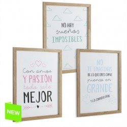 Pack 3 cuadros de mensaje muy original 3/m diseño frases divertido