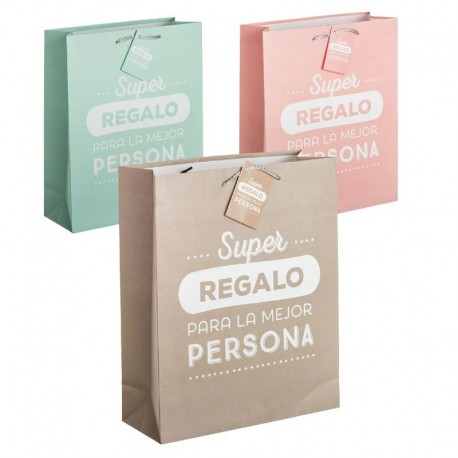 Pack 3 Bolsas papel L super regalo