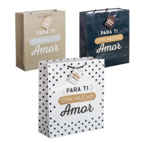 Pack 3 Bolsas de regalo papel para ti con mucho amor