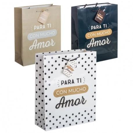 Pack 3 Bolsas de regalo papel para ti con mucho amor L