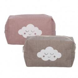 Neceser moderno diseño nube de color con cremallera