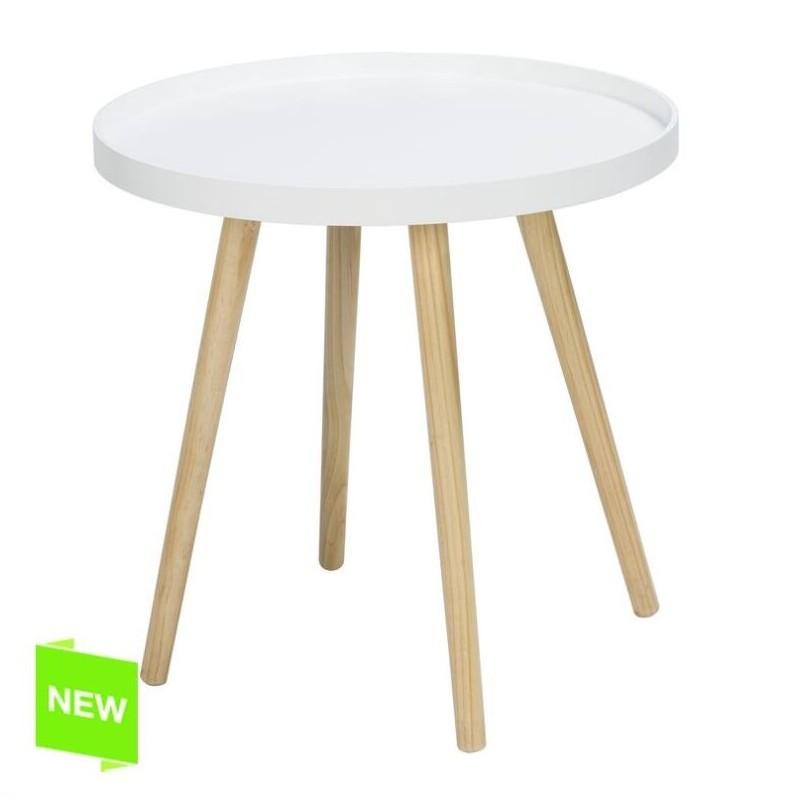 Mesa madera centro blanca 48x48x48 cm for Mesa blanca y madera