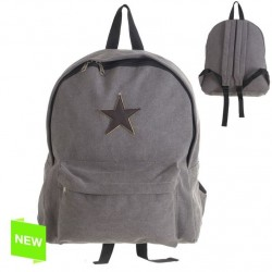 Mochila estrella cuero gris 34x11x38 cm .