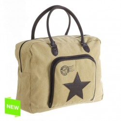 Bolsa estrella cuero arena 50x17x40 cm .