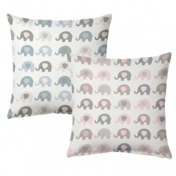 Juego de 2 Cojines infantil elefantes 2/m 45x45 cm