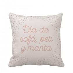"""Cojín """"Día de sofá, peli y manta"""" - 45*45 cm"""