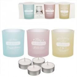 Pack de 3 candeles con 4 velas de te frases castellano color