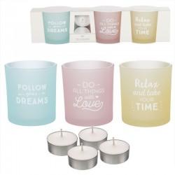 Pack de 3 candeles con 4 velas de te frases positivas