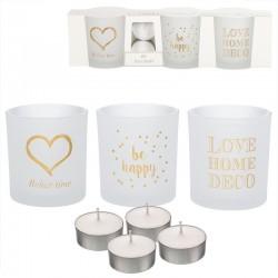Pack de 3 candeles con 4 velas de te frases romanticos