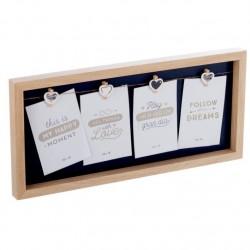 Panel portafotos con pinzas múltiple madera para 4 fotos