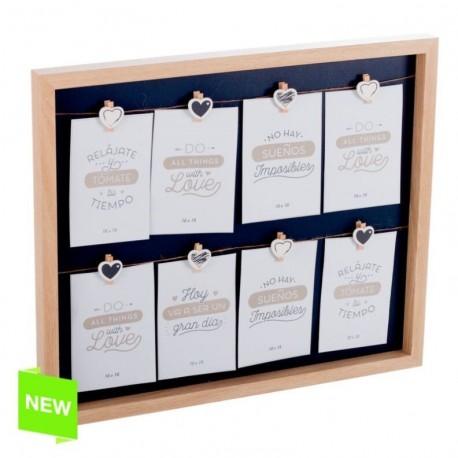 Panel portafotos con pinzas múltiple madera para 8 fotos