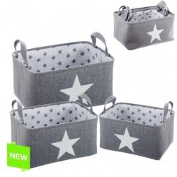 Juego de 3 cestas organizador rect estrellas gris .