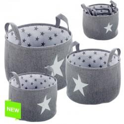 Juego de 3 cestos organizador redondos estrellas gris .