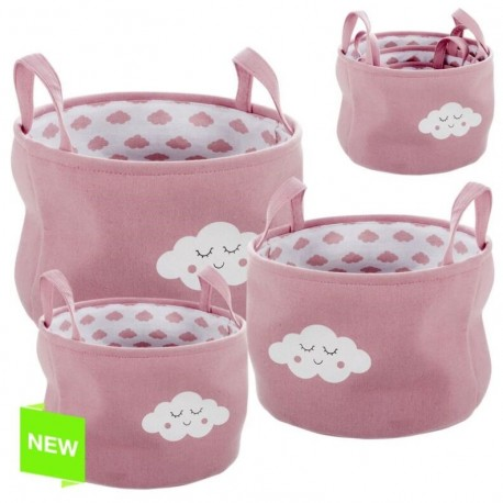 Juego de 3 cestos organizador redondos rosa nubes .