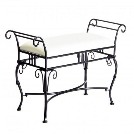 Banqueta negro metal 80 x 30 x 57 cm asiento de lino.