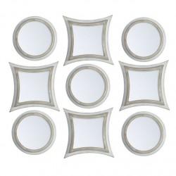 Juego de 9 espejos pared crema