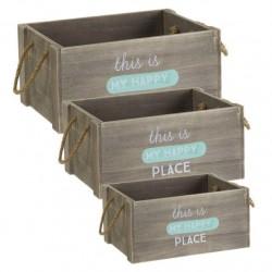 """Juego 3 cajas multiusos original con mensaje """"HAPPY"""" de madera"""