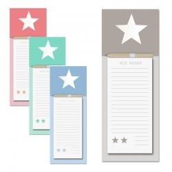 Pack 4 bloc notas iman con lapiz diseño estrella original 4/color