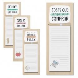 Pack 4 bloc notas iman con lapiz diseño frases original natural 4/m