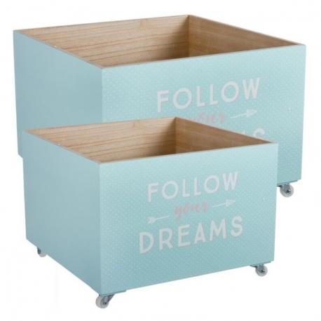"""Juego 2 cajas multiusos con ruedas """"FOLLOW"""""""