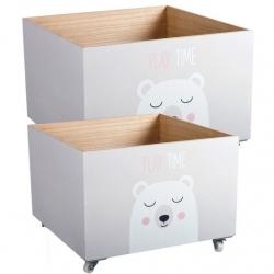 "Juego 2 cajas multiusos con ruedas infantil ""OSITO"""